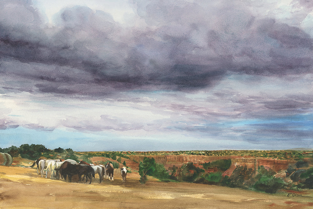 Clouds Over Palo Duro Canyon Original Watercolor Painting