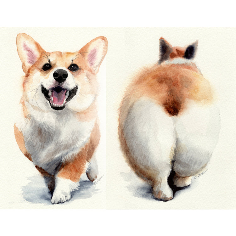 Corgi Strut Original Watercolor Painting Set