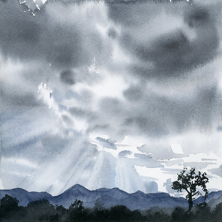 Dramatic Clouds Original Watercolor Painting
