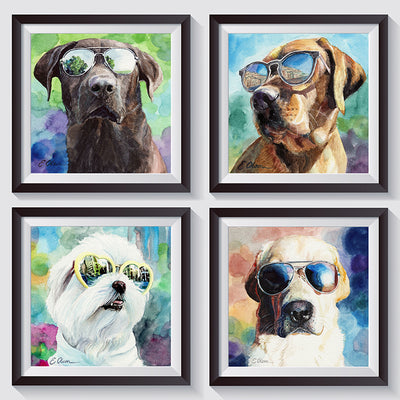 Chocolate Lab in Sunglasses Shipped Print