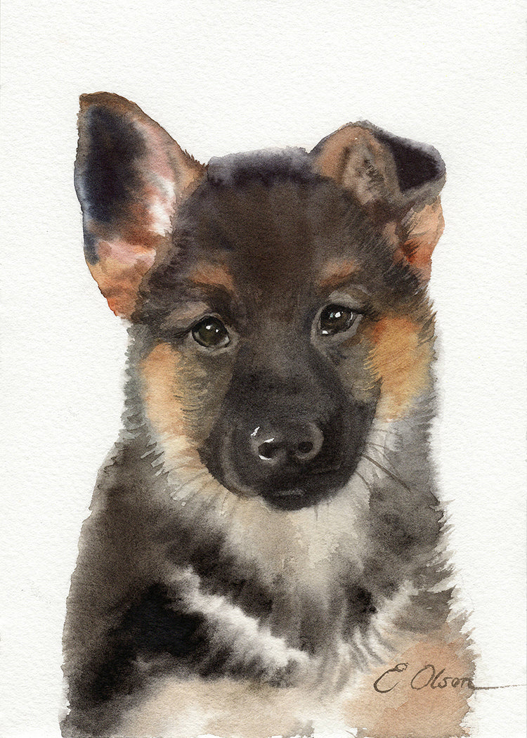 German Shepherd Puppy Original Watercolor Painting