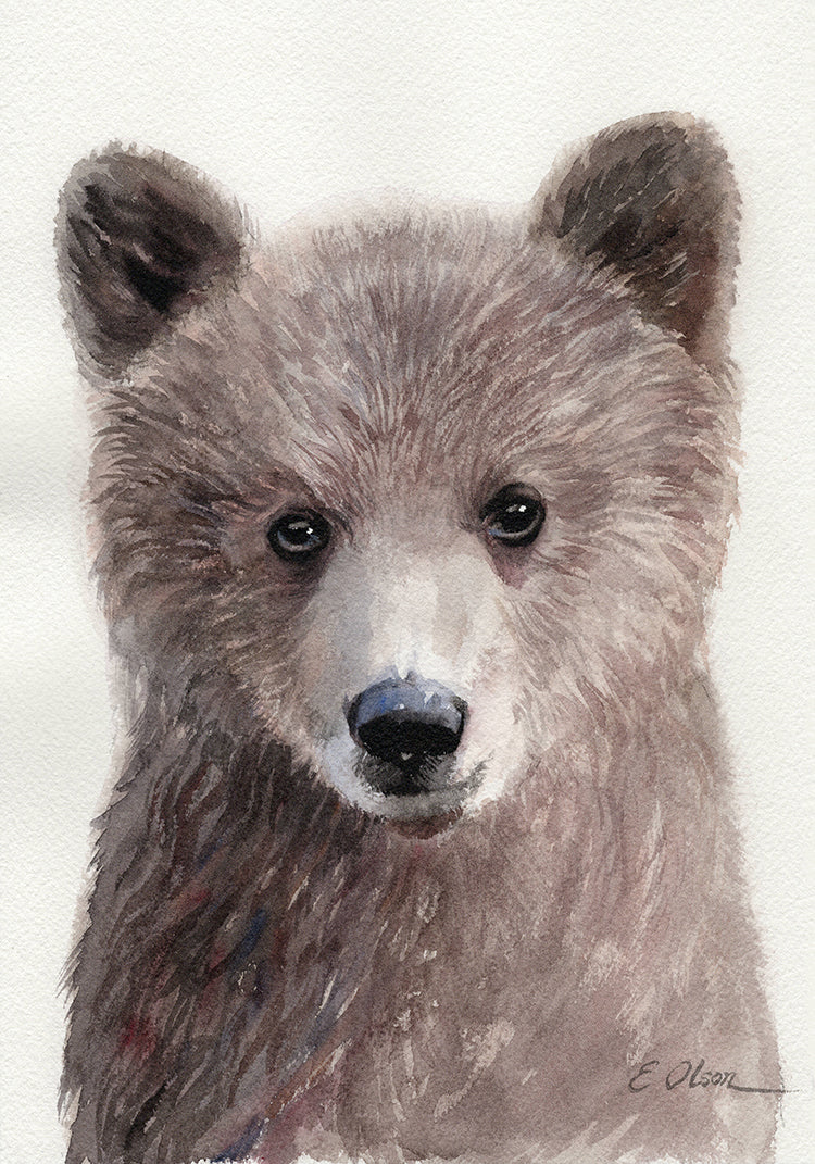 Baby Grizzly Bear Head Original Watercolor Painting