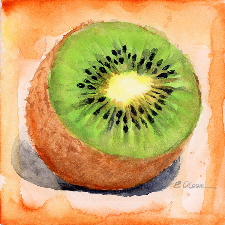 Kiwi Fruit Original Watercolor Painting