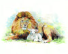 Lion and Lamb Original Watercolor Painting