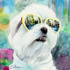 Maltese in Sunglasses Digital Print