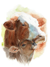 Mother and Baby Cow Original Watercolor Painting