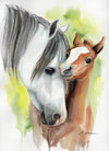 Mother and Baby Horse Original Watercolor Painting