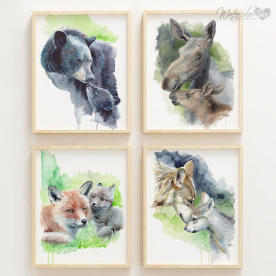 Mother and Baby Fox Shipped Print