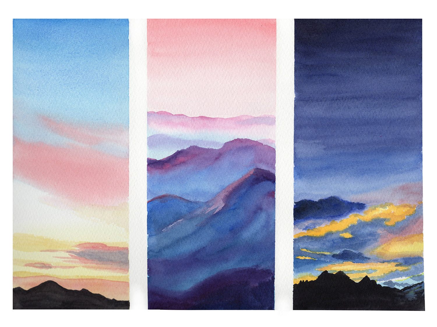 Mountain Sunset Triptych Watercolor Painting
