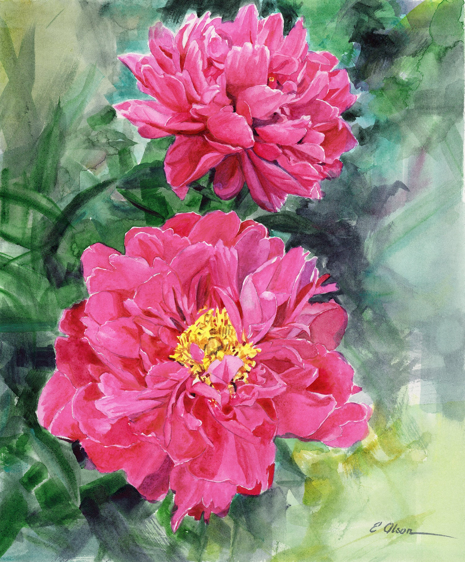 Pink Peonies Original Watercolor Painting