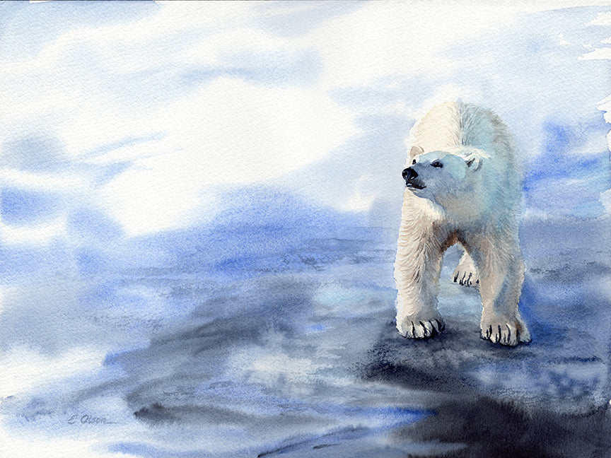 Polar Bear on the Ice Original Watercolor Painting