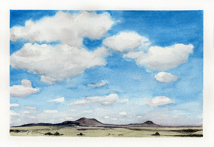 Rabbit Ear Mountains Watercolor Painting