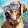Fox Red Labrador in Sunglasses Original Watercolor Painting