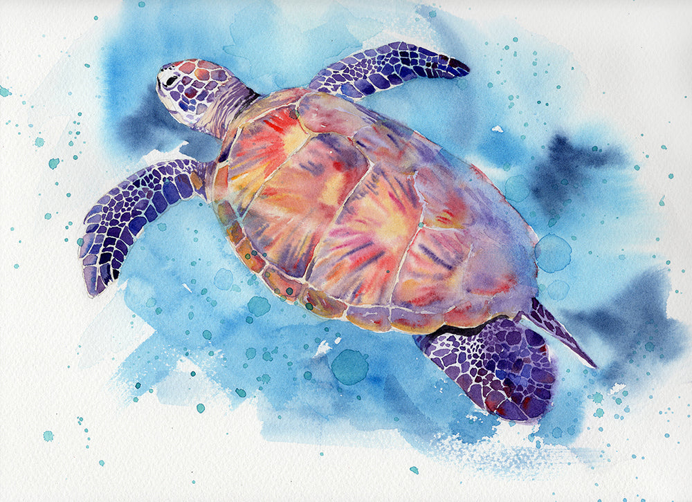 Sea Turtle Original Watercolor Painting