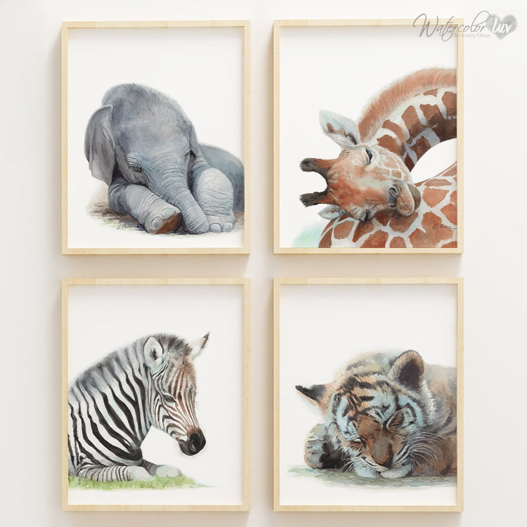 Sleeping Jungle Animals | Set of 4 Digital Prints