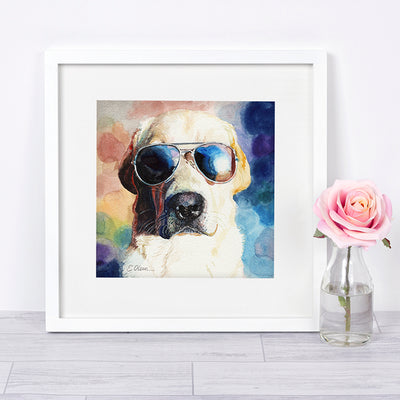 Yellow Lab in Sunglasses Shipped Print