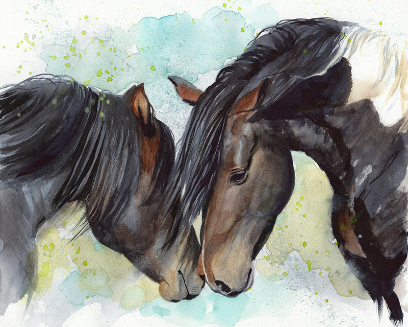 Two Horses Original Watercolor Painting