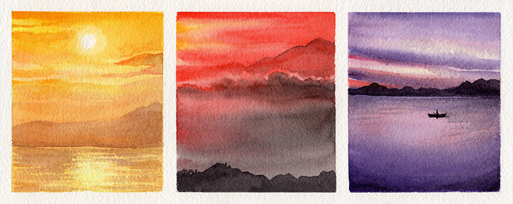 Sunset Study Triptych Watercolor Painting