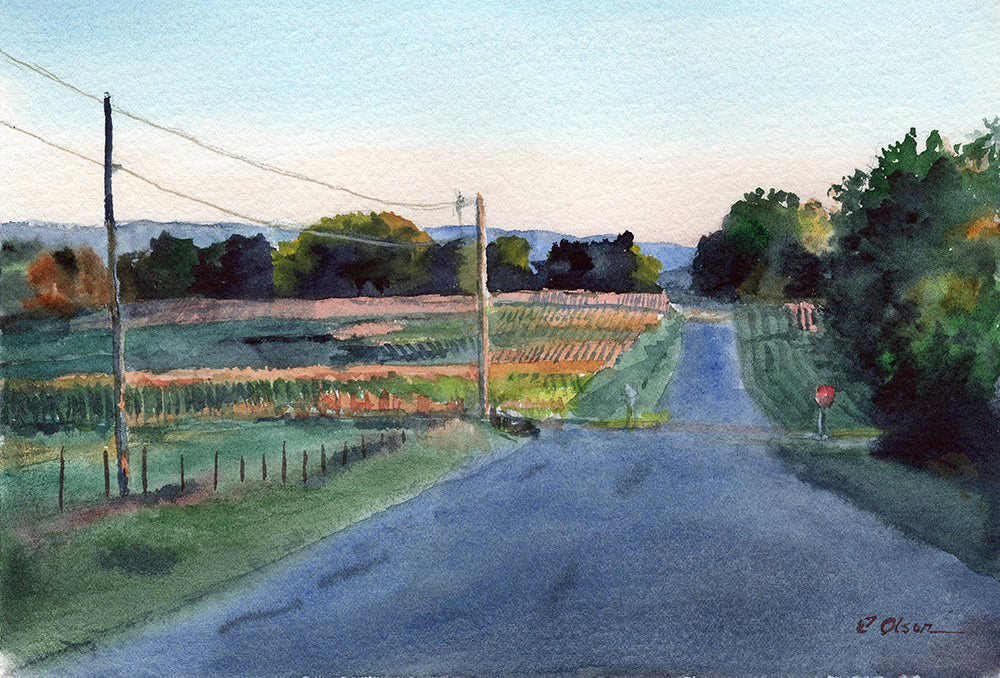 Wisconsin Country Road Original Watercolor Painting