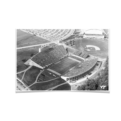 Virginia Tech Hokies - Vintage Aerial Lane Stadium