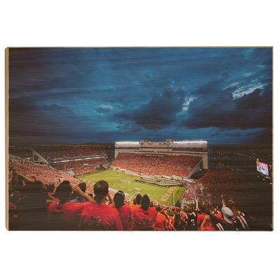 Virginia Tech Hokies Lane Stadium Night Wood Art