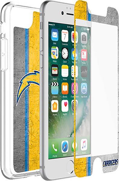 OtterBox Clear Symmetry Series Phone case with Los Angeles Chargers Alpha Glass Screen Protector