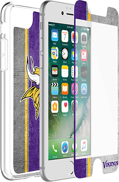OtterBox Clear Symmetry Series Phone case with Minnesota Vikings Alpha Glass Screen Protector