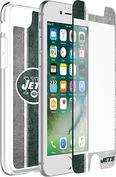 OtterBox Clear Symmetry Series Phone case with New York Jets Alpha Glass Screen Protector