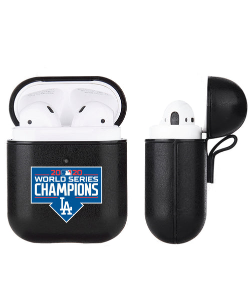 Fan Brander Black Leatherette Apple AirPod case with Los Angeles Dodgers 2020 MLB Champions Design