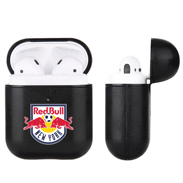 Fan Brander Black Leatherette Apple AirPod case with New York Red Bulls Primary Logo
