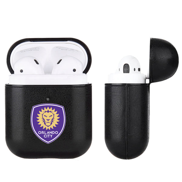 Fan Brander Black Leatherette Apple AirPod case with Orlando City SC Primary Logo
