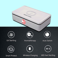 Portable UV Smart Phone Sterilizer with Fast Wireless Charger with Atlanta Hawks Primary Logo