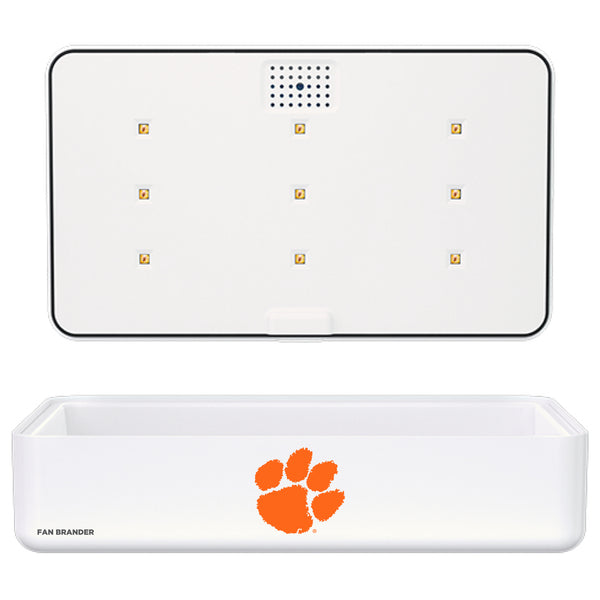 Portable UV Smart Phone Sterilizer with Fast Wireless Charger with Clemson Tigers Primary Logo