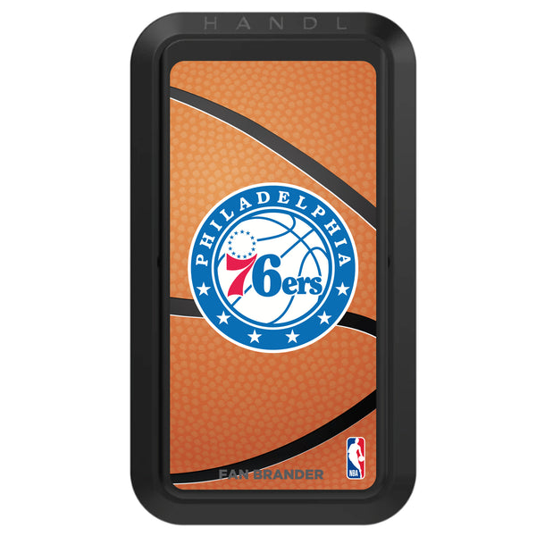 Black HANDLstick with Philadelphia 76ers Primary Logo with Basketball Background
