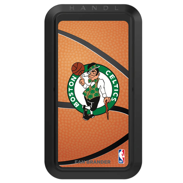 Black HANDLstick with Boston Celtics Primary Logo with Basketball Background