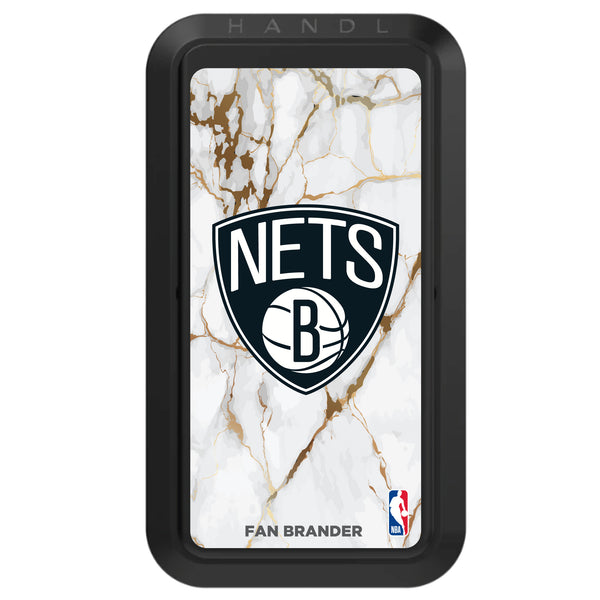 Black HANDLstick with Brooklyn Nets Primary Logo with White Marble Design