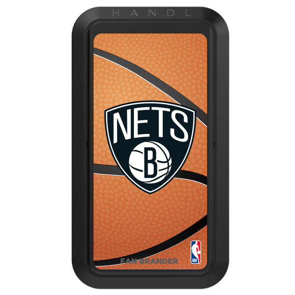 Black HANDLstick with Brooklyn Nets Primary Logo with Basketball Background