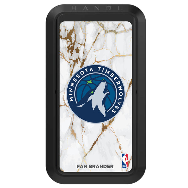 Black HANDLstick with Minnesota Timberwolves Primary Logo with White Marble Design