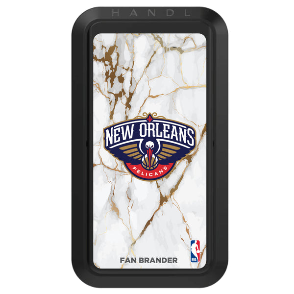 Black HANDLstick with New Orleans Pelicans Primary Logo with White Marble Design