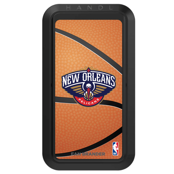 Black HANDLstick with New Orleans Pelicans Primary Logo with Basketball Background