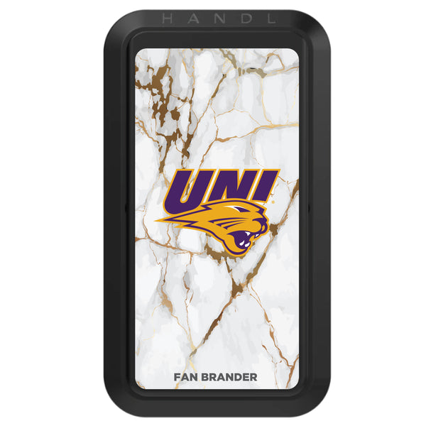 Black HANDLstick with Northern Iowa Panthers Primary Logo with White Marble