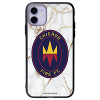 Fan Brander Slate series Phone case with Chicago Fire White Marble Background