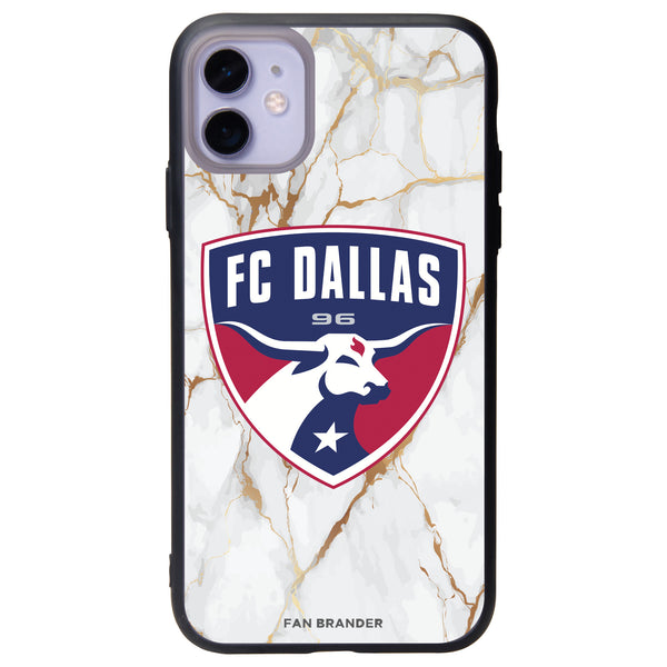 Fan Brander Slate series Phone case with FC Dallas White Marble Background