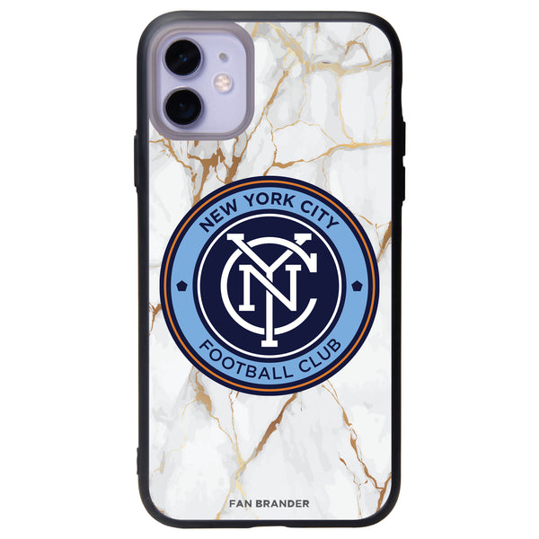 Fan Brander Slate series Phone case with New York City FC White Marble Background