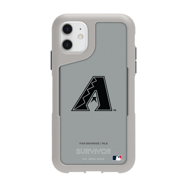Griffin Survivor Endurance cool grey Phone case with Arizona Diamondbacks Primary Logo in Black