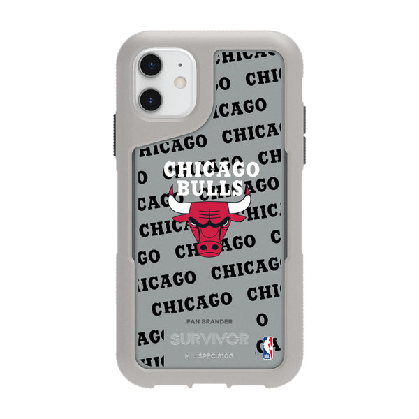 Griffin Survivor Endurance cool grey Phone case with Chicago Bulls Primary Logo with Repeating Wordmark