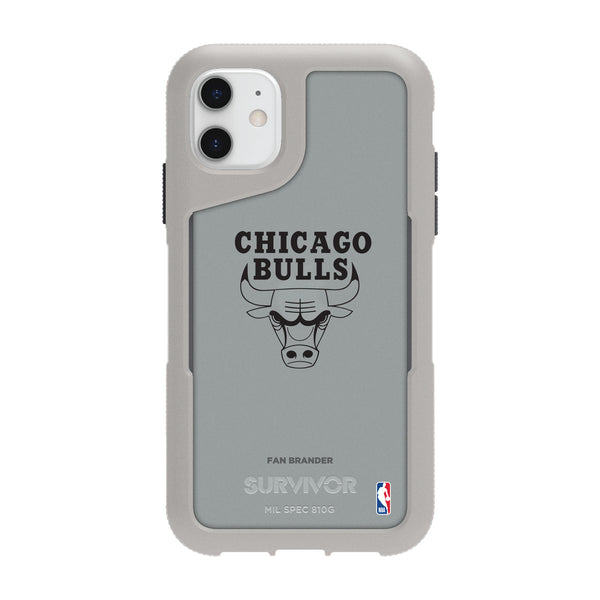Griffin Survivor Endurance cool grey Phone case with Chicago Bulls Primary Logo in Black