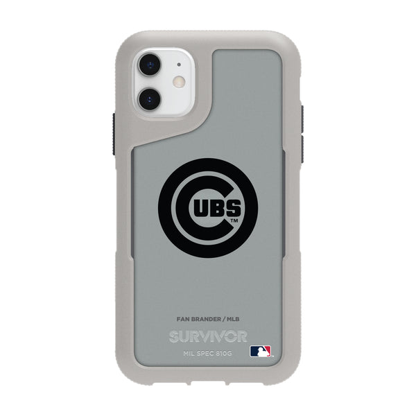 Griffin Survivor Endurance cool grey Phone case with Chicago Cubs Primary Logo in Black