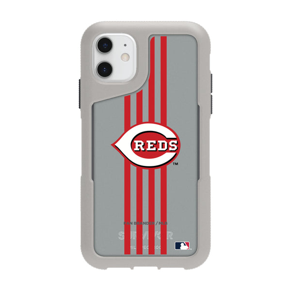 Griffin Survivor Endurance cool grey Phone case with Cincinnati Reds Primary Logo with Vertical Stripe