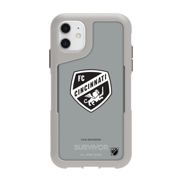 Griffin Survivor Endurance cool grey Phone case with FC Cincinnati Primary Logo in Black and White